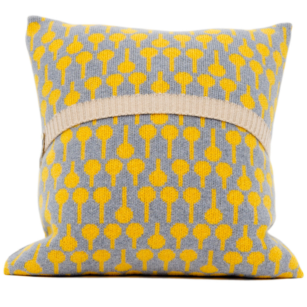 Lolli knitted cushion in yellow and grey