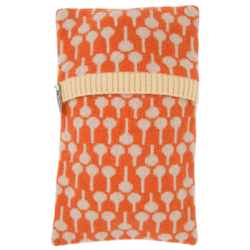 Lolli lambswool knitted hot water bottle in oatmeal and orange