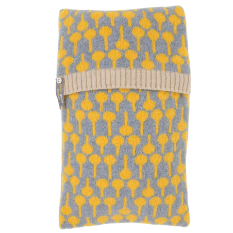 Lolli lambswool knitted hot water bottle in grey and yellow