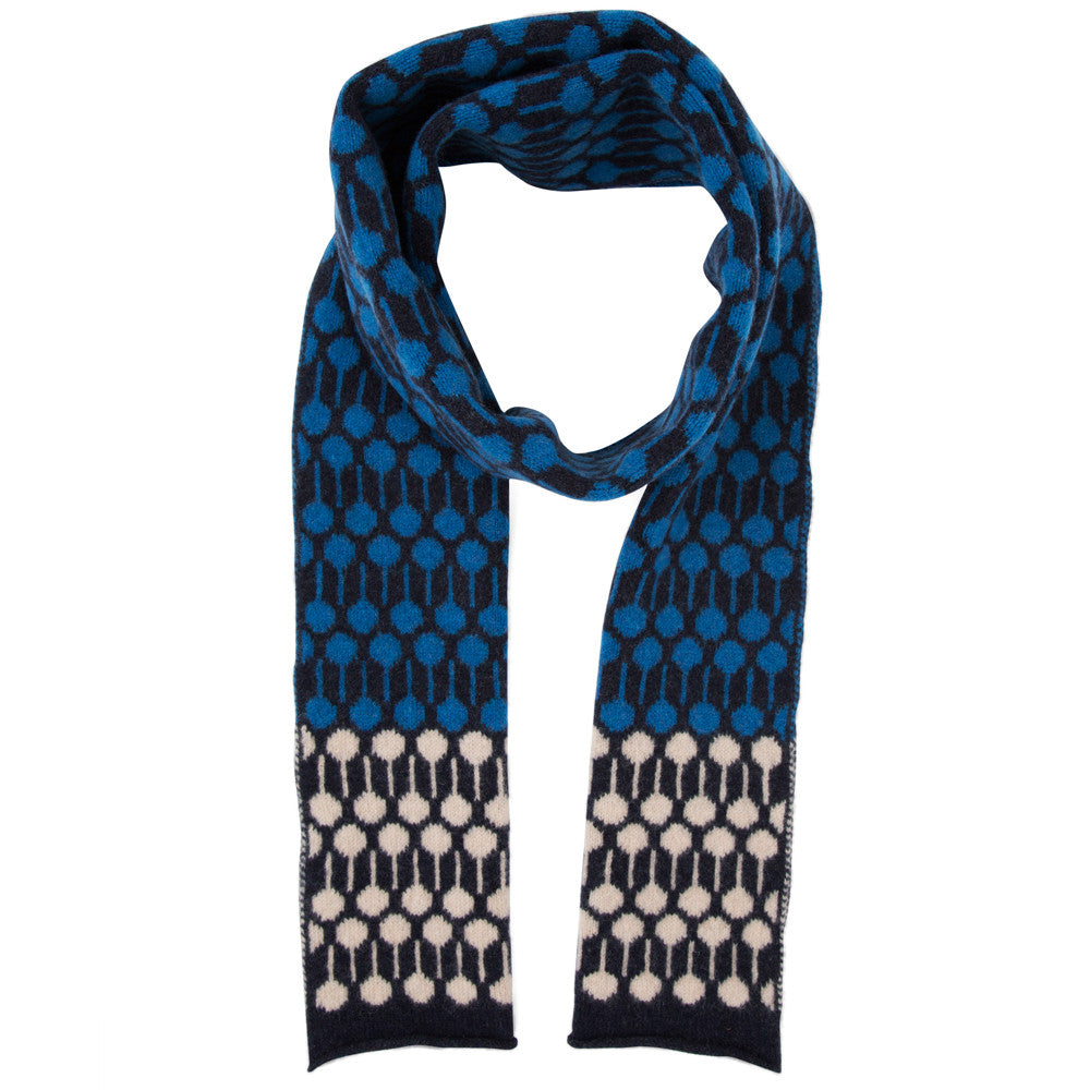 Lolli knitted scarf in blue & indigo