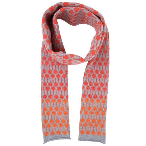 Lolli lambswool knitted scarf in grey & red