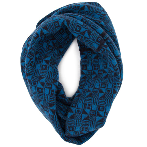 Micro knitted scarf in indigo & blue