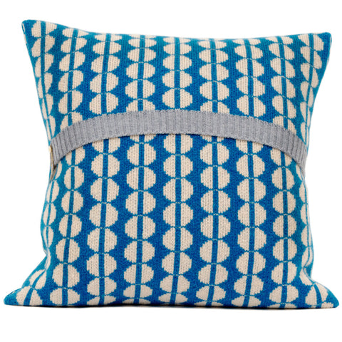 Spot knitted cushion in cream and blue
