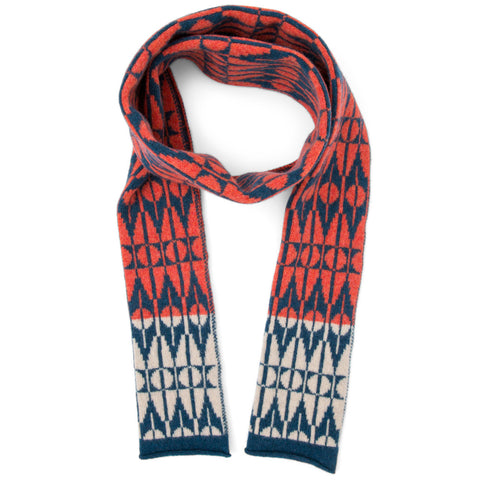 Tile knitted scarf in red & blue