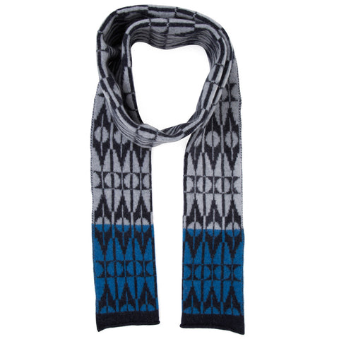 Tile knitted scarf in grey & indigo