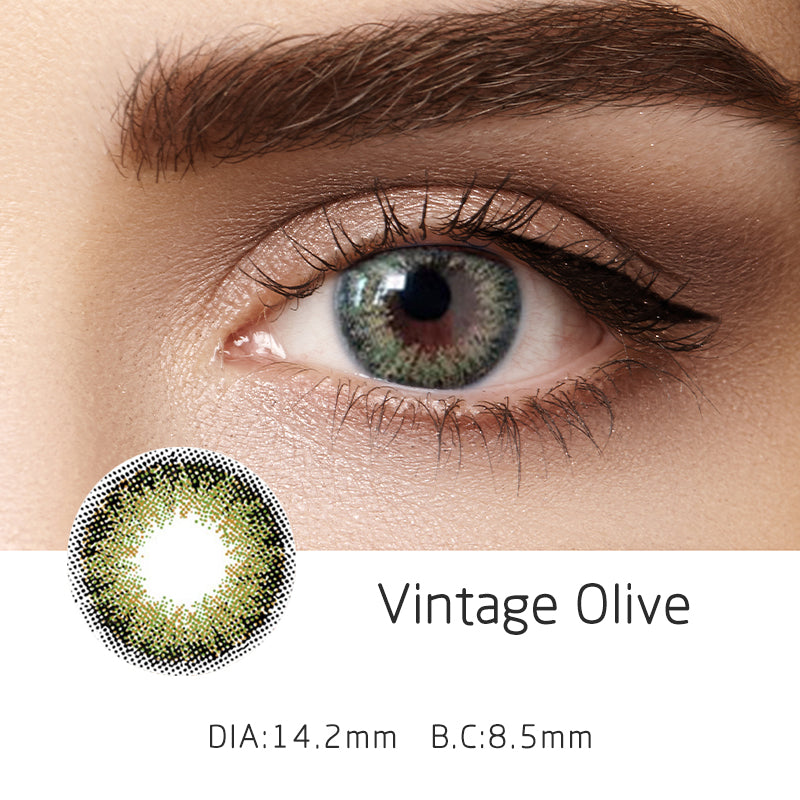 Mrs. H Colored Contact Lenses Vintage Olive 14.50mm 1 Pair