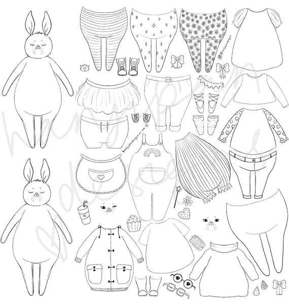 Bunny Paper Doll Printable / Digital Activity