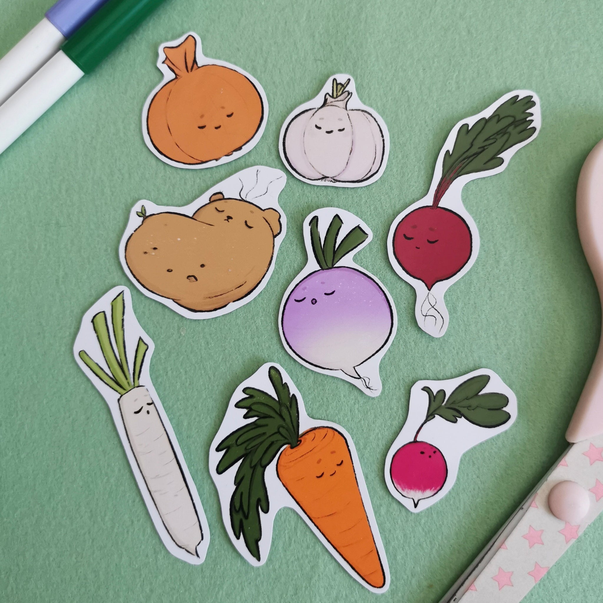 Sleepy Veggies Sticker Pack