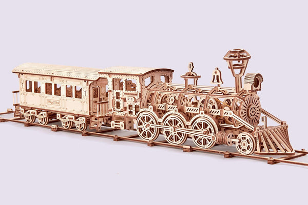 3D Wooden Puzzle Locomotive Train Toy Mechanical with Railway - 34x7″ - BY Transportation