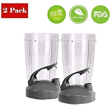 Replacement 24 Oz Cup with Flip Top To Go Lid & Extractor Blade Compatible With Nutri Bullet 600W 900W Blender (2 Pack) - Karbro