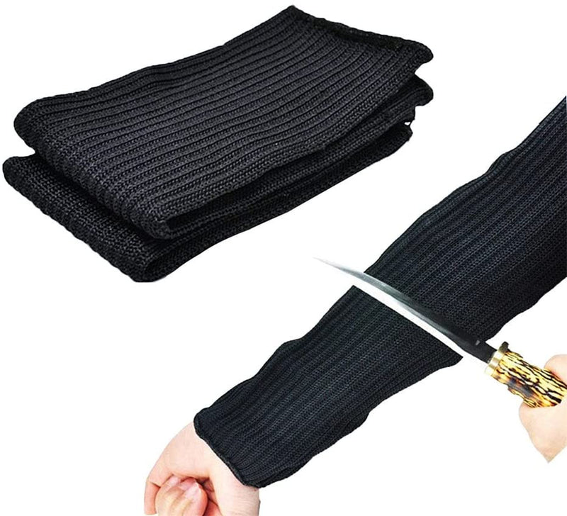 Black Kevlar Sleeve 35mm Arm Protection Sleeve Level 5 Anti- Cut Burn (Free Size, Black) - BY Transportation