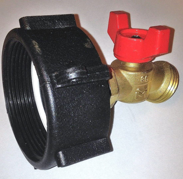 "275-330 GALLON IBC TOTE TANK ADAPTER 2"" NPS Fine x BRASS Hose FAUCET VALVE - BY Transportation"