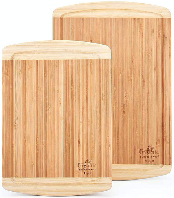 Cutting Board Set with Juice Grooves - 2 Pcs Organic Bamboo Antimicrobial Heavy Duty Cutting Boards for Kitchen - Large and Extra Large Carving Board for Meat and Chopping Vegetables - Karbro