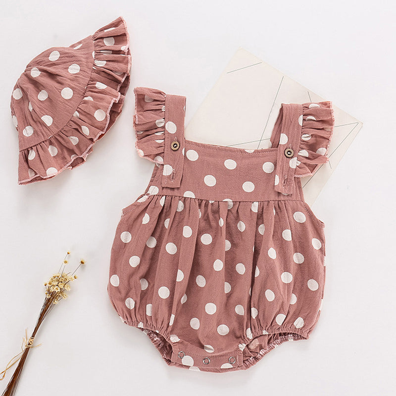 Polka Dotted Onesie and Bonnet Set - Karbro