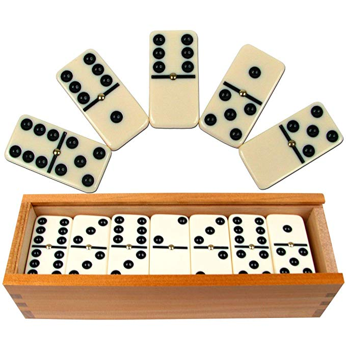 Double 6 Professional Domino Tiles with Spinner in Wooden Box - BY Transportation