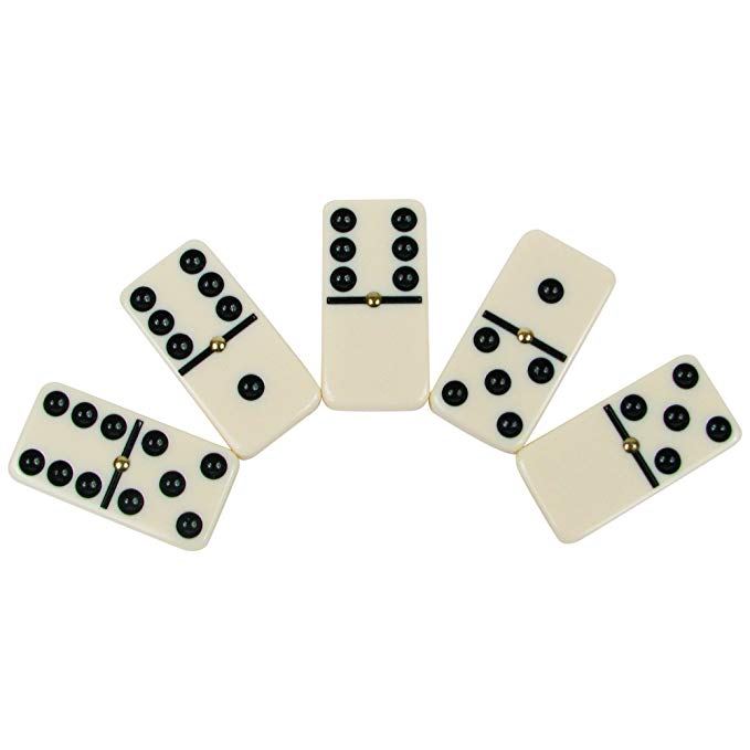 Double 6 Professional Domino Tiles with Spinner in Wooden Box - Karbro