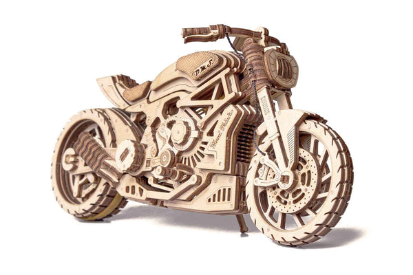 Wooden Puzzle Motorcycle - Mechanical Model Kit for Adults and Kids - BY Transportation