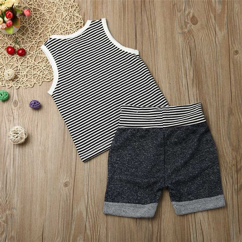 Newborn Infant Baby Boy Clothes Set Summer Striped - Karbro