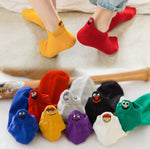 4 Pairs/Pack Embroidered Expression Women Socks Happy Fashion