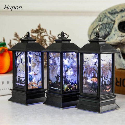 Decoration Props Led Candles Light Vintage Castle Bats Pumpkin Lantern Flame Lamp Scary Halloween Party Supplies