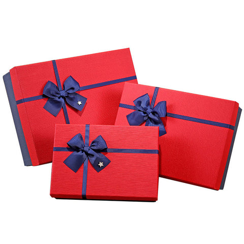 Christmas Blue Red Rectangular Gift Box