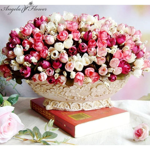 15 heads/bouquet small bud roses bract artificial flower silk rose