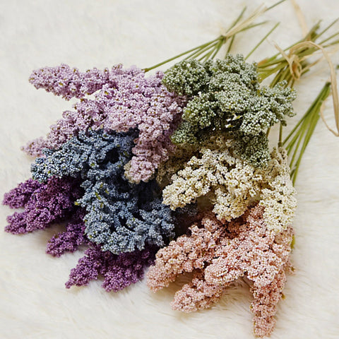 6Pcs/Pack Artificial Vanilla Mini Foam Berry Spike Artificial Flowers Bouquet