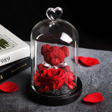 Rose Lovely Teddy Bear Molding Led Light In A gifts Flask
