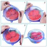 6 Pcs Silicone Stretch Lids Reusable Airtight Food Wrap Covers Keeping Fresh