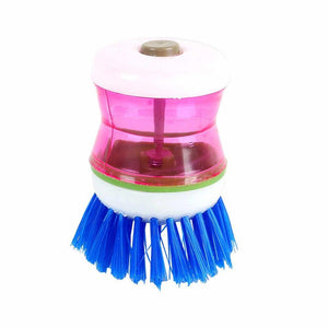159 Plastic Wash Basin Brush Cleaner with Liquid Soap Dispenser (Multicolour)