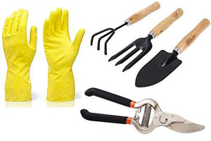IndiaFav Gardening Tools - Reusable Rubber Gloves, Pruners Scissor(Flower Cutter) & Garden Tool Wooden Handle (3pcs-Hand Cultivator, Small Trowel, Garden Fork)