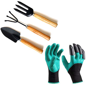 IndiaFav Gardening Hand Cultivator, Big Digging Trowel, Shovel & Garden Gloves with Claws for Digging & Planting