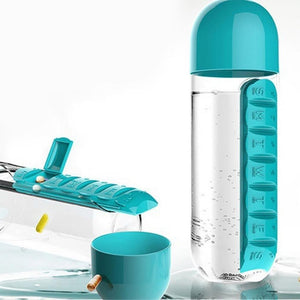 365 -7 Days Pill Tablet Medicine Organizer with Water Bottle 600ml