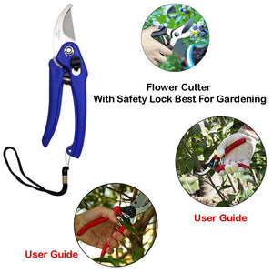 IndiaFav Gardening Tools - Reusable Rubber Gloves, Flower Cutter & Garden Tool Wooden Handle (3pcs-Hand Cultivator, Small Trowel, Garden Fork)