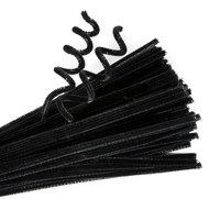 Chenille Stems Black. Packet of 100