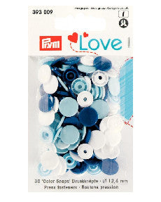 Prym Assorted Blue/White/Light Blue Non-sew Colour Snaps (4798897225825)