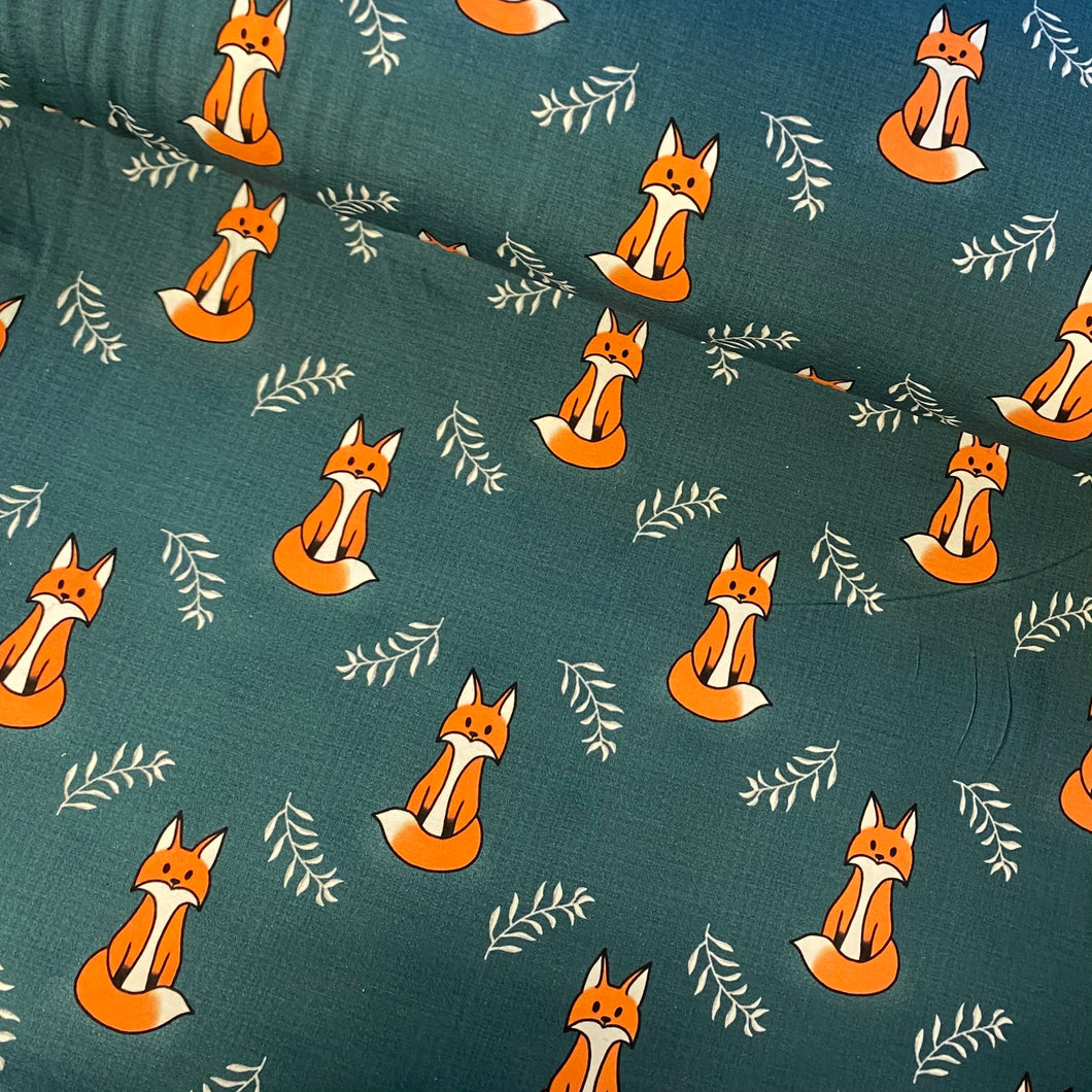 Foxes On Petrol Cotton Jersey- Bumblebunches Exclusive Colourway