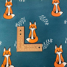 Load image into Gallery viewer, Foxes On Petrol Cotton Jersey- Bumblebunches Exclusive Colourway