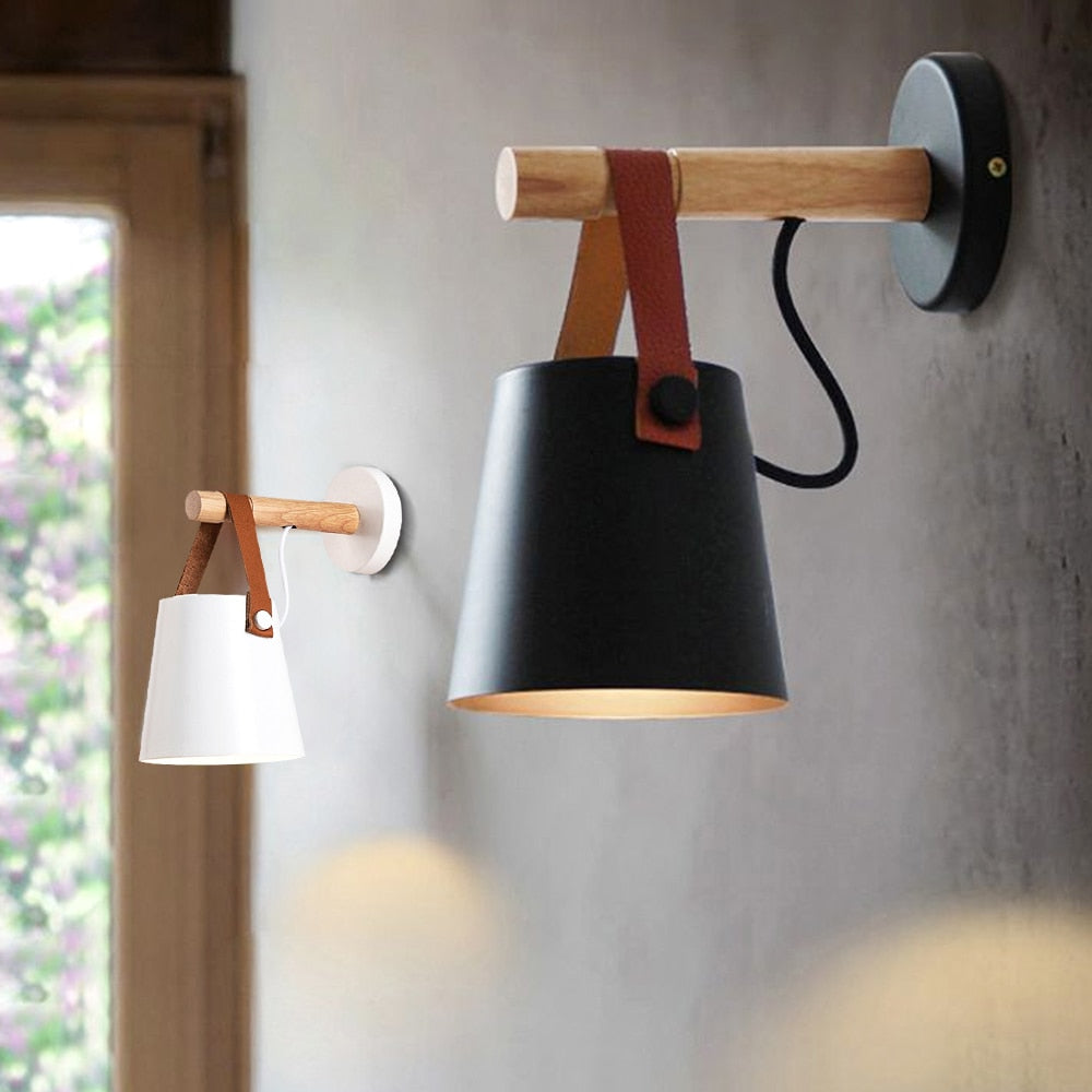 Nordic Style Vollholz Bettlampe