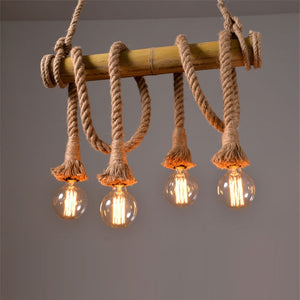 Vintage Rope Lampe - Bambus Edition