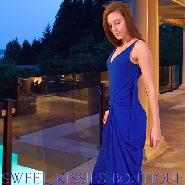 BLUE WOMEN'S DRAPED DRESS MAXI WITH V-NECKLINE AND DRAPED FRONT BY SWEET KISSIES BOUTIQUE