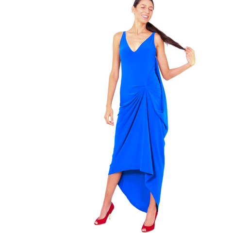 blue cobalt sleeveless maxi with v-neckline, uneven hem, and draping at front by sweet kissies boutique