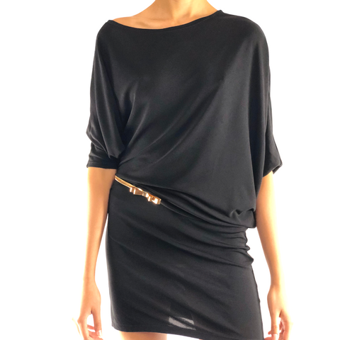 loose fitting black mini dress with asymmetrical draping