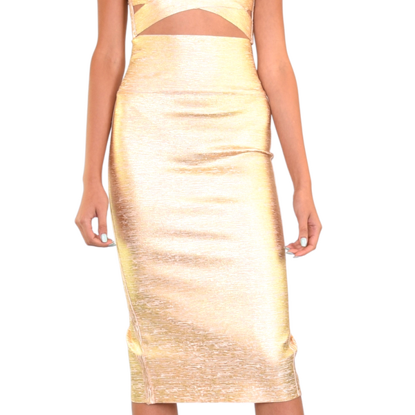 gold bandage high waist below the knee skirt with double closing metal zipper at back