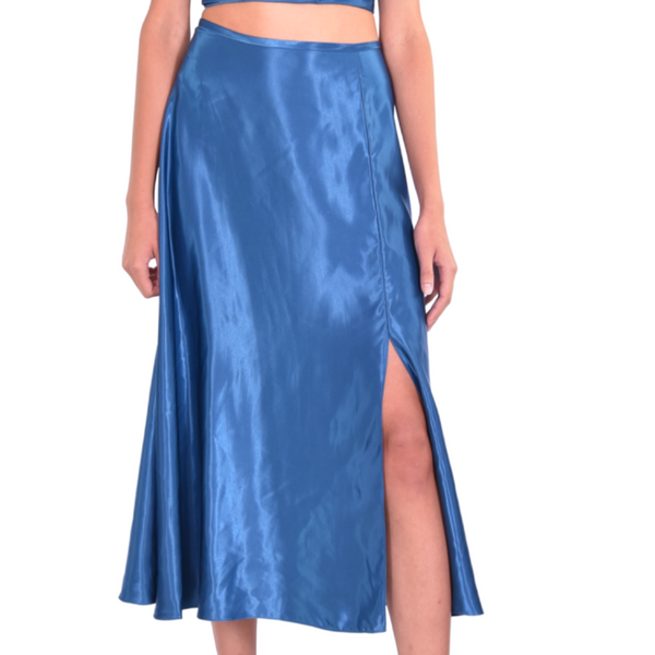 teal silky charmeuse front lit A-line midi skirt