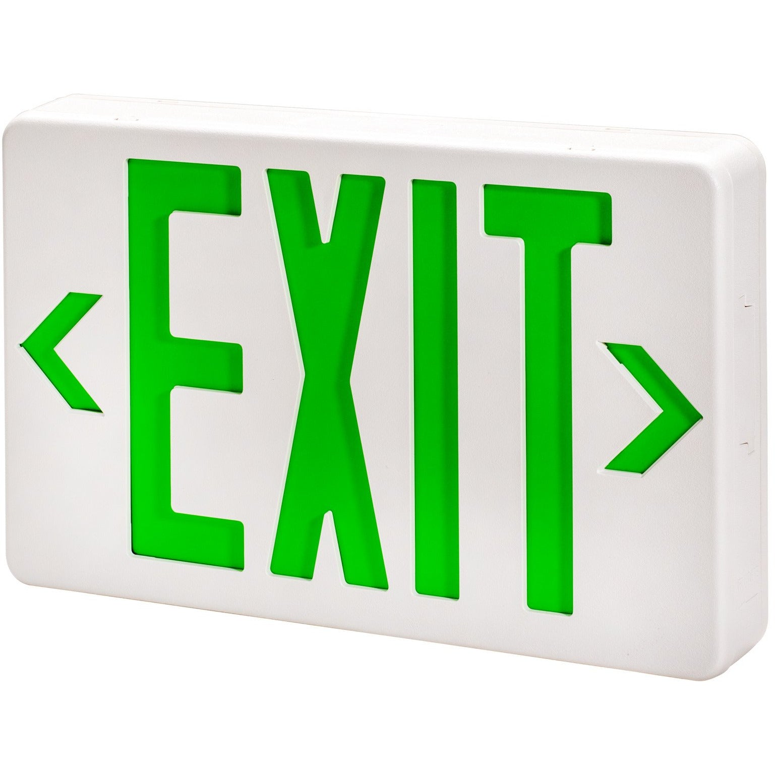 WH LED EXIT SIGN W/BATTERY BACK UP GREEN - CommerciaLight Distributors