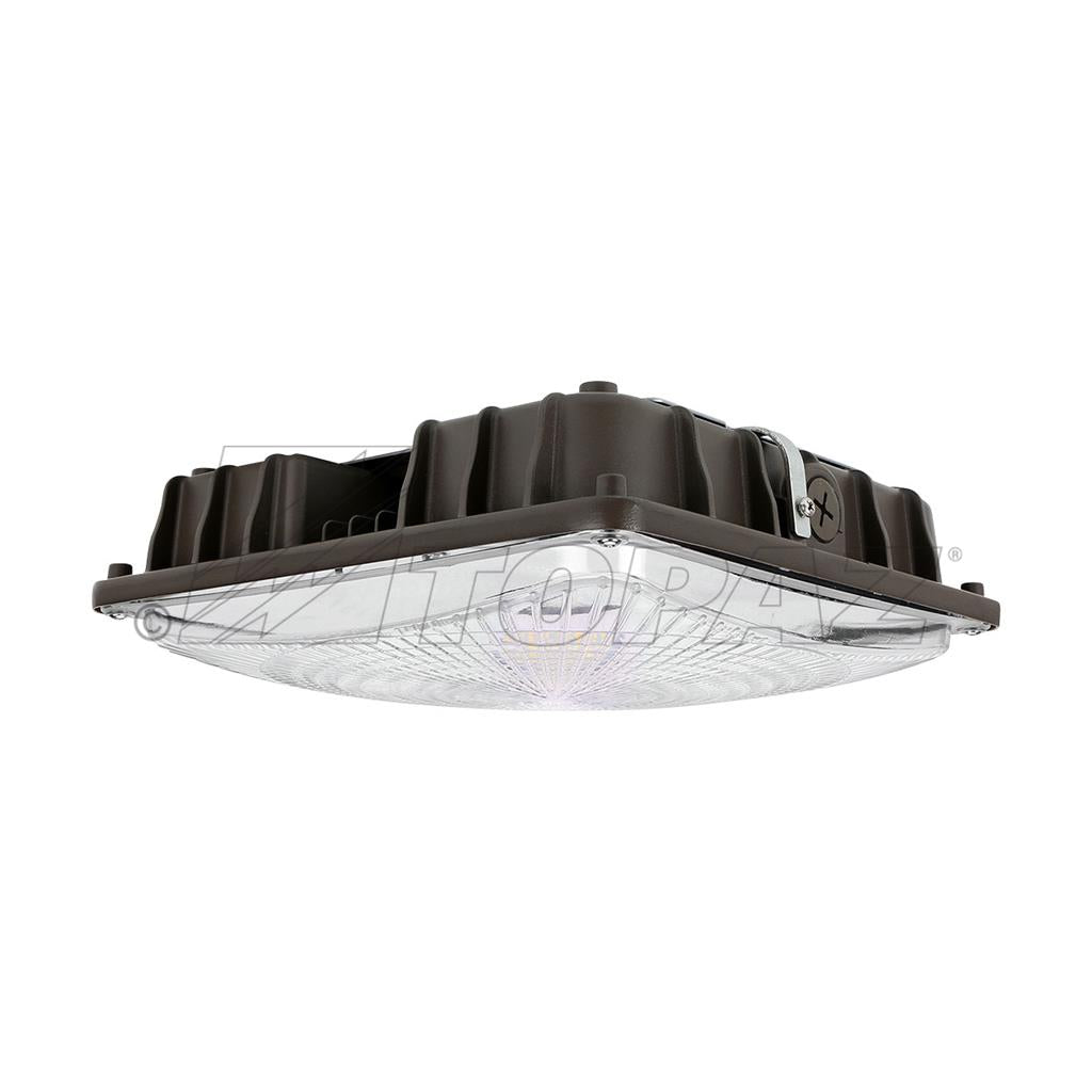 60W LOW PROFILE SQUARE CANOPY LIGHT-BRONZE 'DLC' IP65 - CommerciaLight Distributors