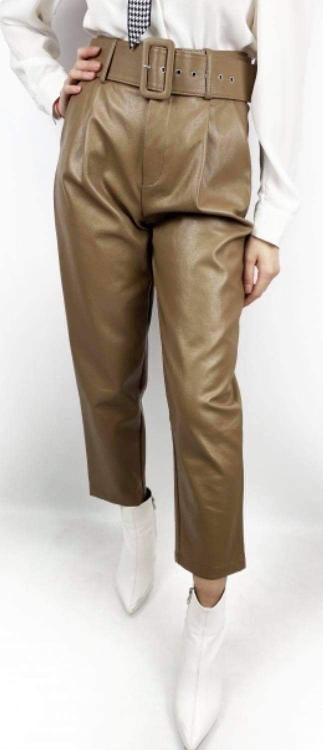 High waisted Leather Look Trouser