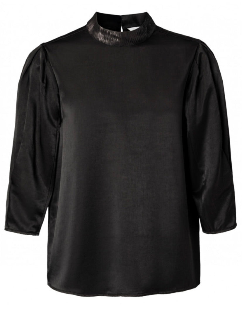 Black high neck top with sequin detail