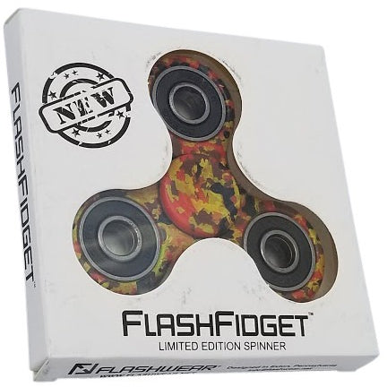 FlashFidget - Camo Fidget Spinner   Limited Edition - Flashwear LED Fidget Spinner - LED Smartphone Fans - Light Up Shirts